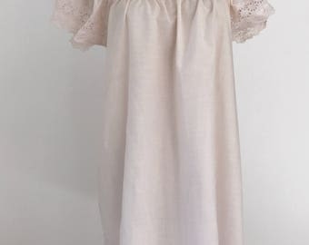 Vintage Pink Embroidered Eyelet Cotton Slip Dress