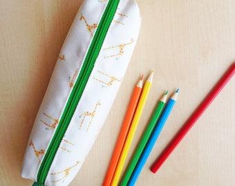 Giraffe Print Pencil Case - Green zip and lining