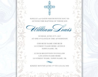 Baptism Invitation, Christening Invitation, Boys Baptism Invitation, Boys Christening Invitation, Baptism Invite, DIGITAL FILE
