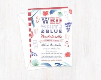 Bachelorette invitations, Bachelorette party invites, red white and blue invites, Wed white blue, military bride, Couples Shower invites