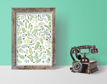 Green Branches and Leaves //Signed ORIGINAL Watercolor Painting/Illustration/Pattern