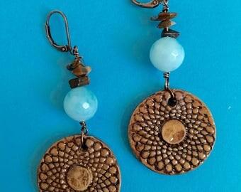 Blue Agate Earrings, Dangle Earrings, Polymer Clay earrings, Women's earrings, womens jewelry, Brown Boho earrings, Earrings