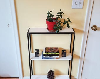 Narrow side table, end table, nightstand, recycled wood, metal furniture, modern side table