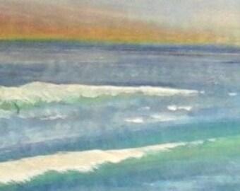 Beach Dawn - acrylic painting on wood