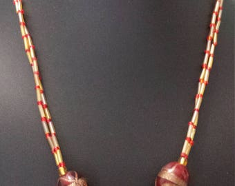 Gold and red lampwork necklace, handmade jewelry, inexpensive jewelry, bugle beads, festive jewelry, gifts for her, unique jewelry