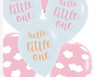 Baby Girl Balloons - Pretty mix of Clouds and wording Hello Little One on 30cm Balloons. Mixed Packet of 6