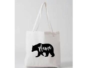Mama Bear Tote Bag White Black American Apparel Natural Papa Bear Baby Bear Mom Shirt