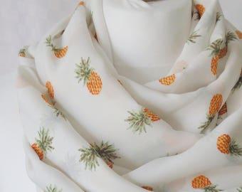 Pineapple infinity scarf, Circle scarf, Pineapple print scarf, Print scarf, Scarf for her, Lightweight scarf, Fashion scarf