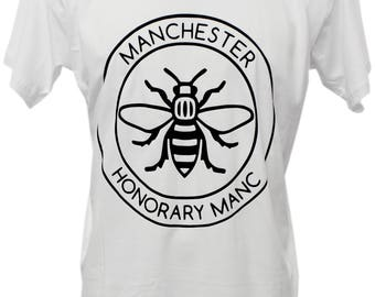 White Honorary Manc Manchester Bee T-Shirt (TSHIRT43) Produced in UK Hacienda Northern Quarter Manc and Proud Vinyl Print