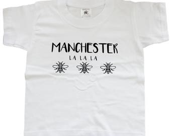 Manchester La La La White Kids T-Shirt - Produced in the UK Vinyl Print - Manchester Bee Manc and Proud Yellow Northern Hacienda Madchester
