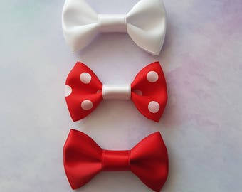 Red Spotted Hanky Mini Hair Bow Set