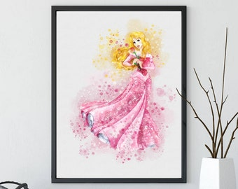 Sleeping Beauty, Aurora Print, Princess Aurora Art, Watercolor, Christmas Gift, Disney, Princess, Printable, Home Decor, Nursery Kids Decor