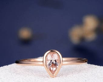 Bezel Set Morganite Engagement Ring Pear Shaped Cut Rose Gold Ring Stacking Solitaire Anniversary Promise Simple Minimalist