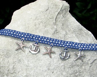 Nautical Jewelry, Nautical Anklet, Anchor Ankle Bracelet. Starfish Anklet, Anchor Charm Anklet, Starfish Charm Anklet, Charm Anklet, Anklet