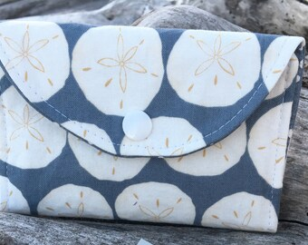 Sand Dollars change wallet, women's wallet, bifold wallet, cotton wallet, handmade wallet