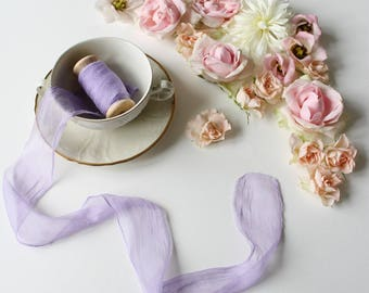 "Hand dyed natural crinkled silk ribbon Lavender silk ribbon 3 m/ 5 cm (3,3 yd/ 2"") on spool Bouquet streamers Jewelry making Florist ribbon"