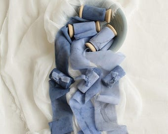"""Bobine de ruban de soie gris bleu ruban de satin mousseline de soie marine ruban de soie marbrée de m 3. 5 cm (3,3 yd/2 """") serpentins en papier Fine art mariage style Bouquet"""