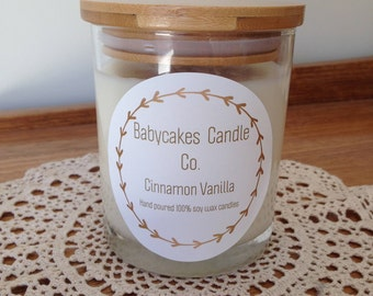 Cinnamon Vanilla 100% hand poured soy wax candle
