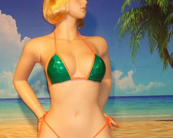 side tie g-string bikini w/standard top Green Holographic S/M USA made