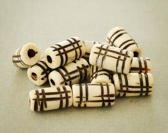 Carved buffalo bone beads, dyed in tea, traditional Indian craft beads, made, rustic, 7 x 12 mm, 19 pcs