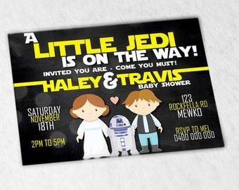Custom Inspired Star Wars invitation - little jedi invite - Star Wars baby shower invitation - digital
