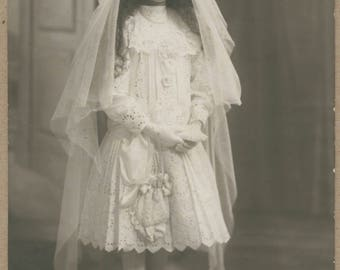 French Communion Portrait | 1910's | French RPPC | Young Lady In Ghostly Eyelet Dress | Veil | Beauty | Coming Of Age | Historical Fashion |