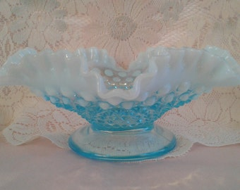 Vintage Blue Opalescent Hobnail Ruffled Footed Candy Dish