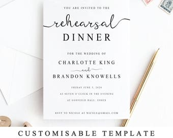 Dinner invitation etsy printable rehearsal dinner invitation template the night before invitation rehearsal diner invite card thecheapjerseys Image collections
