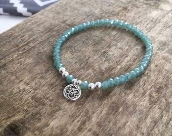 Sterling Silver Bracelet - Green Bracelet - Silver Bracelet - Charm Bracelet - Gift for Her - Elastic Stacking Bracelet - Stacking Bracelet