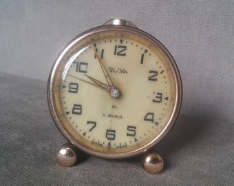 Old Rare Soviet Mechanical Alarm Clock Slava 11 Jewels, Russian vintage clock, Made in USSR, Working condition, Soviet Made Clock, 1960's