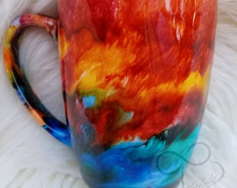 Swirl Water Color Tye Dye Alcohol Ink Style Coffee Mug, Tea Cup or Anything You Want Mug - Sunset,  Lava, Love, Ocean and Earth Effect