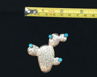 Sterling Silver Turquoise Cactus Pin