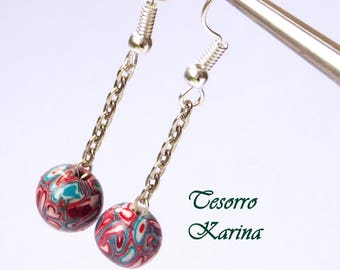 Earrings with beads on a chain, Earrings with beads made of polymer clay, earrings with handmade beads as a gift