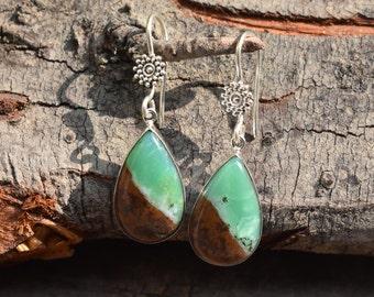 natural chrysoprase earring,mint green chrysoprase earring,sterling silver earring,92.5 silver earring,natural gemstone earring