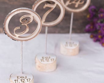 10 wooden table numbers, with personalized holder, Table number stands, Wedding table numbers, Rustic wedding table decor, Table number tags