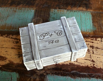 Ring Bearer Box Rustic Wedding Personalized with Wood Heart (Your Color Choice)