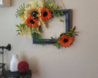 Picture Frame Wreath with Sunflower, Sunflower Wreath, Wreath Alternative, Sunflower Decor, Picture Frame Decor, Picture Frame Wreath