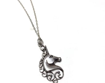 """Sterling Silver Unicorn Necklace on 18"""" Chain"""