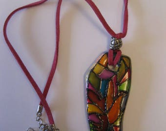 Handmade painted glass necklace pendant  MULTICOLOR