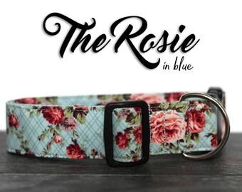 Floral Dog Collar, Rose Dog Collar for Girls, Blue Floral Collar, Blue Dog Collar for Girl Dogs, Cute Dog Collar, Custom Dog Collar