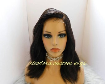 Wig Adele/Handmade Custom Wig/Authentic Raw Cambodian Virgin Unprocessed Human hair/Loose Wavy Short Wig