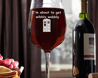 Dr.Who inspired Wine Glass,Wibbly Wobbly wine glass, wine glass Doctor Who glass Dr doctor Who Inspired,Tardis, Timelord, Custom engraved