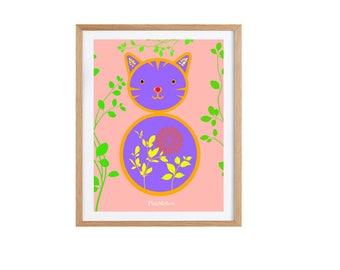 Lucky Cat Cat Art Print, cat artwork, foliage prints, cat decor, cat gifts, cat lover gift, cat illustration Giclee print 21 x 29.7 cm