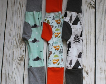 Grow with me Pants, Maxaloones, cloth diaper pants, bum circle, stretch baby pants, Woodland, fox, bear, mountains, birch, trees print
