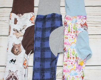 Grow with me Pants, Maxaloones, cloth diaper pants, bum circle, stretch baby pants, Woodland, fox, bear, dragons, castles, plaidprint