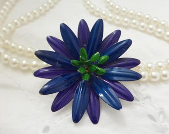 Vintage Enamel Blue and Purple Flower Pin