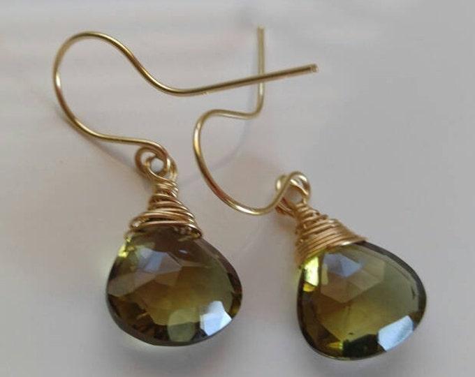 14k Solid gold earrings, green quartz dangle earrings, handmade jewelry. Thanksgiving earrings, solid gold, green drop wedding earrings.
