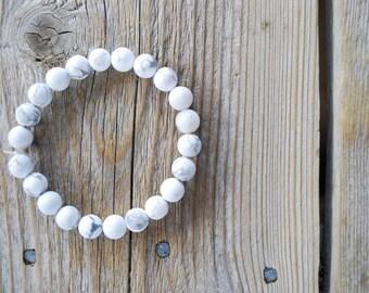 Howlite bracelet yoga bracelet mala beads meditation beads yoga beads frosted white howlite lava beads howlite bracelet