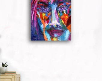 abstract art painting pink blue male face art new age art gift idea boy room decoration hipster art portrait stroke art bright decor gift й6