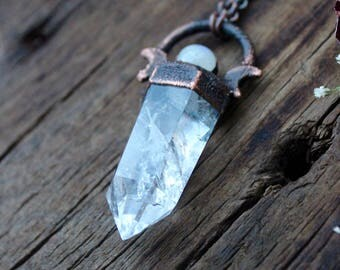 Clear Crystal Quartz Point With A Moonstone Necklace » Electroformed » Boho-Gypsy Style » One Of A Kind